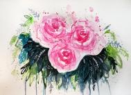 Bloom, 11x15 abstract watercolor mixed media, 2016