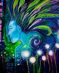 "Blue Lady, 20""16"", acrylic on canvas"