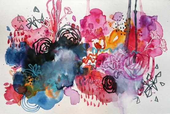 Blush, 6x9 mixed media watercolor, 2016.