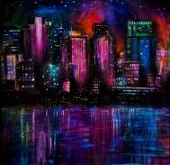 "Cityscape, 18""x17"", acrylic on paper"
