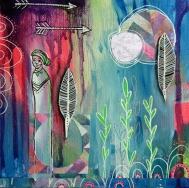 """Deep Roots III, 6""""x6"""" mixed media on canvas"""