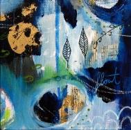"""Deep Blue IV, 6""""x6"""" mixed media on canvas"""