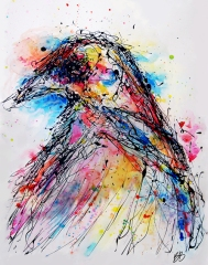 """Drip Crow, 24""""x18"""", latex acrylic and watercolor on paper"""