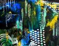 "Feather Collaboration, 16""x20"", acrylic on canvas panel"