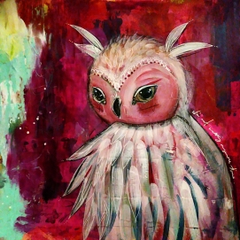 Owl, mixed media on paper