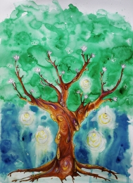 The Tree, mixed media on paper, commission